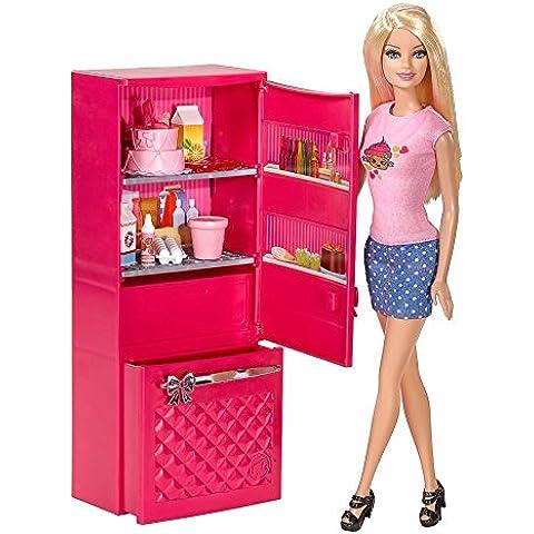 Barbie - Muebles de Cocina - Nevera Llena - y Muñeca Barbie