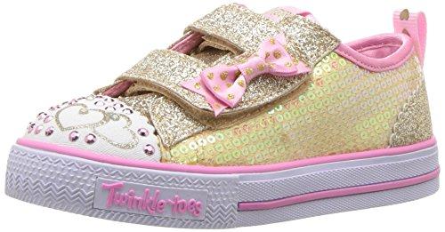 Skechers Baby Mädchen Shuffles-Itsy Bitsy Sneaker, Mehrfarbig (Gold Sequin Textile/Pink Trim), 21 EU