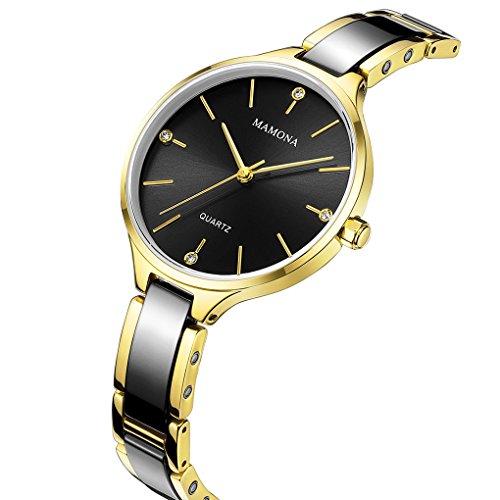 MAMONA Quartz Watches for Women Waterproof Black and Gold Ceramic Ultra Thin Fashion Wrist WatchL3877BK