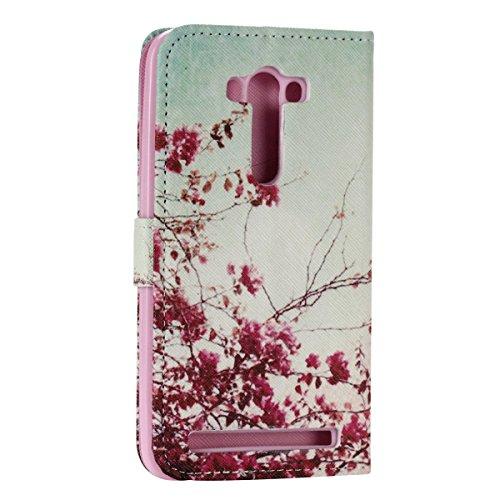 Case Ecoway Case / Cover / Téléphone / Pouch Elegant 3D incrusté Bling Crystal Glitter Housse en cuir strass diamant PU avec support dans BookStyle poches de carte de crédit de fonction avec intérieur Les feuilles rouges