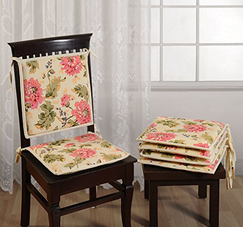 "Swayam Printed 200 TC Cotton 2 Piece Chair Pads with Loop - 16""x16"", Off-White"