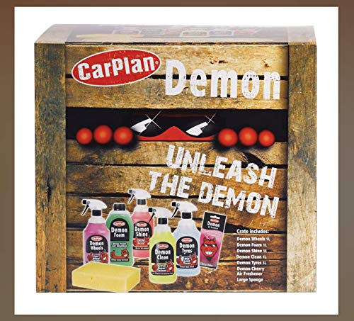 Price comparison product image Carplan DGP100 Demon Gift Pack Car Cleaning Kit Wheels Tyres Interior with Sponge And Demon Cherry Air Freshener