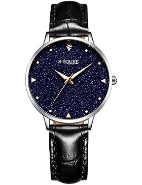 Alienwork Quarz Armbanduhr echtes Marmor Zifferblatt Uhr Damen Uhren Mädchen sternenklarer Himmel Leder schwarz...