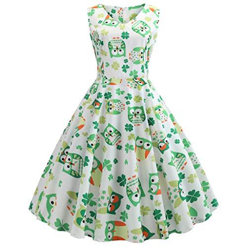 VJGOAL Damen St. Patrick's Day Kleid Retro Mode Party V-Kragen Klee Eule Farbe Drucken Großes Pendel Kleider Frau Geschenk(Grün,36)