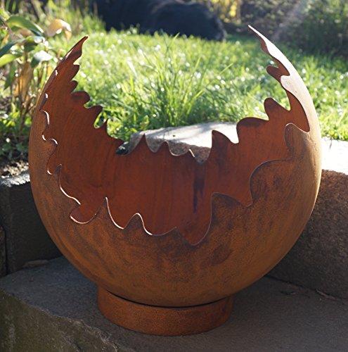 *Edelrost Deko/Feuerkugel Risse mit Standring Gartendekoration Metall*