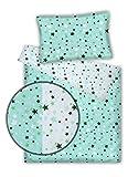Kinderbettwäsche Stars 2-tlg. 100% Baumwolle 40x60 + 100x135 cm mit Reißverschluss (Wende-Sterne grün)