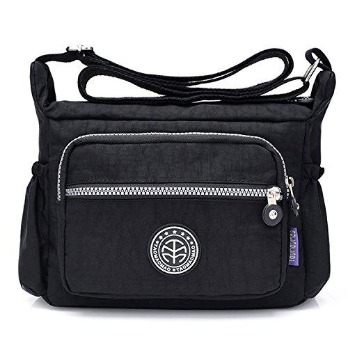 Outreo Umhängetasche Leichter Schultertasche Wasserdicht Taschen Damen Kuriertasche Mode Strandtasche Designer Messenger Bag Sporttasche Schwarz
