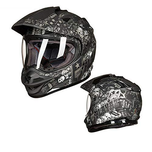 YSH Casco da Cross Casco da Moto Multi-Funzionale Casco Integrale da Moto Traspirante ABS Caschi Uomo Donna Inverno,D-XXL