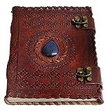 Handmade Large 8 journaux en cuir gaufré Celtic deux verrous bleus en pierre blanc personnel Diary notebook rechargeable journal par jaald