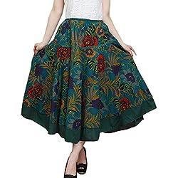 Feoya Étnico Falda Larga Casual Estampado Floral Bohemia Maxi Skirt para Verano Playa Viaje para Mujeres, Verde