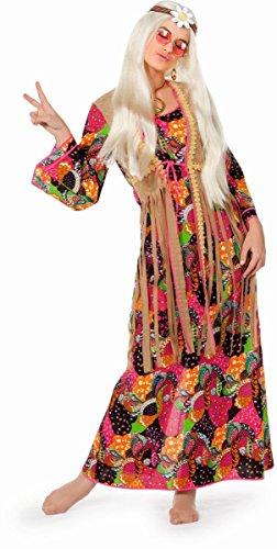 60er Jahre Damen Kostüm langes Hippie Kleid Karneval Fasching Gr.48