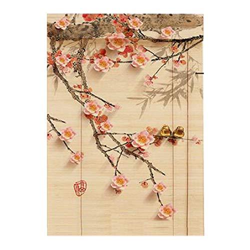 LIANGJUN Persianas Enrollables Cortina Estores De Bambú Romanas Modelo Filtrado De Luz Estilo Chino Estilo Japones Pintura Colgante Cortar Decoración, 4 Colores (Color : B, Size : 150x300cm)