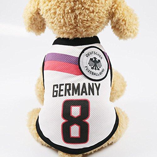 Romote Haustier Kleidung Pet Kleidung Pet Westen mit den Ländern Logo, vorbereitet für die WM Fan, PET Kostüm für Hunde Katzen, etc. Größe L