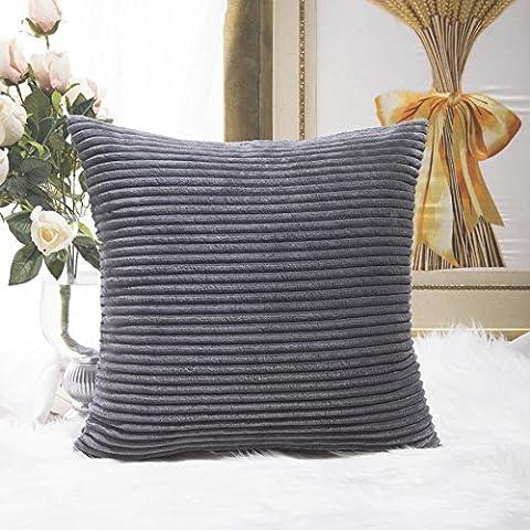 Home Brilliant Super Soft Striped Corduroy Decorative Euro Throw Pillow Sham Cushion Cover for Couch, 26x26 inch(66cm), Dark