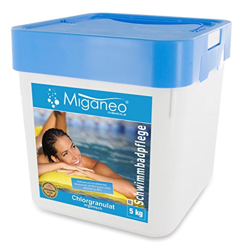 Miganeo® 5 kg Chlorgranulat schnelllöslich 56% Aktivchlor, organisch für Schock Chlorung,Pool (5kg) -