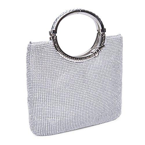 Baglamor Damen Handtasche Kristall Strass Tasche Abendtaschen Hochzeit Clutch Geldbörse (Kleine Strass-schnallen)