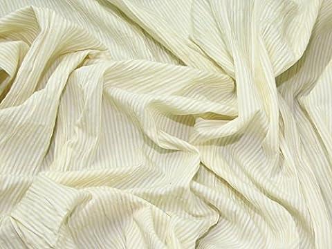 Polycoton Jaune pâle Seersucker Mini Stripe garde robe tissu au mètre