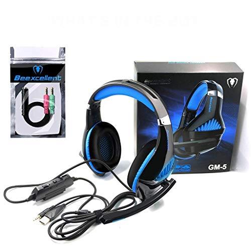 Jamicy® Gaming Headset für PS4/XBox One, Stereo Bass Surround/Noise Reduction/Volume Control/Over-Ear Gaming Kopfhörer mit LED Licht und Mikrofon für Laptop PC Mac Computer and Smartphone (Blau) -