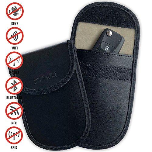 POWR RFID Signal Blocking Pouches (2 Pack) Anti-Theft Faraday Bag Protector for Keyless Car Key fobs | Blocks RFID/WiFi/GSM/LTE