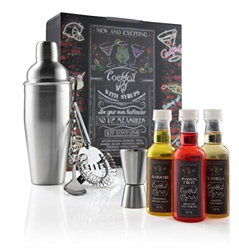 eKitch Cocktail Kit Gift Set - Including 750ml Shaker, Muddling Spoon, Hawthorne Strainer, Double Ended Measure + 3 Flavoured Syrups and a Free Iphone / Android App full of great cocktail recipes