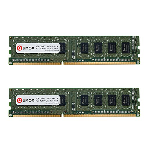 QUMOX 8GB(2X 4GB) DDR3 1600 PC3-12800 PC-12800 (240 PIN) DIMM RAM Desktop-Speicher XMP CL9 - Cl9-pc-speicher