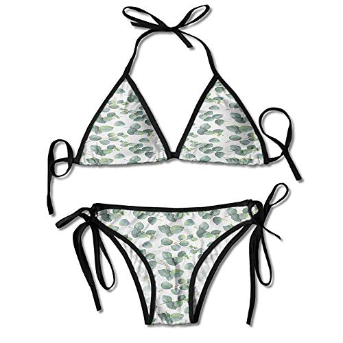 Removable Strap Wrap Bikini,Silver Dollar Eucalyptus Leaves Sexy Bikini 2 Pieces (Silver Lake Halloween-partys)