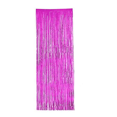 zhuotop 3m * 1Meter Fransen Vorhang Party Folie Lametta Vorhang Tür Zimmertür Hochzeit Decor (Light Party Black Supplies)
