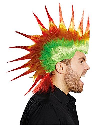Drago Irokese Punk Herren Perücke grün gelb rot Accessoire Karneval Halloween