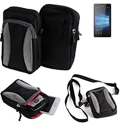 Gürteltasche, Holster / Umhängetasche für Microsoft Lumia 950 XL Dual SIM, schwarz-grau + Extrafach mit Platz für Powerbank, Festplatte etc. | Case travelbag Brustbeutel Brusttasche- K-S-Trade(TM)