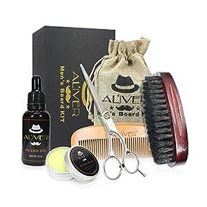 5 Pcs Bartbürste und Bartkamm Set – für Männer Bartpflege, Styling und Gestaltung -Holz kamm, Taschenkamm und Bürste mit Bartpflegeöl, Bartpflegecreme Set Bart & Schnurrbar