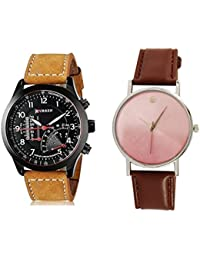 Style Keepers 2018 Curren Collection Festive Season Special Black Round Dial Brown Leather Strap Party Wedding | Casual Watch | Formal Watch | Fashion Wrist Watch For Boys and Men - Curren M-8152 | Buy 1 Get 1 Single Diamond Brown Watch for Women absolutely Free | Jumbo Offer