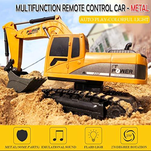 RC Auto kaufen Baufahrzeug Bild 3: TETAKE Sandspielzeug Bagger, RC Bagger, Spielzeug Baufahrzeuge, Sandkasten Spielzeug, Sandspielzeug Junge Bagger für Kinder Baby ab 3 Jahr (1:24 und 6CH)*