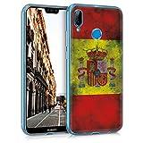 kwmobile Funda para Huawei P20 Lite - Carcasa de [TPU] para móvil y diseño Bandera española Retro en [Amarillo/Blanco/Rojo]