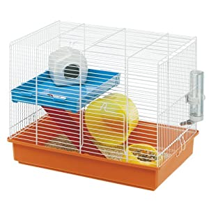Ferplast Hamster Duo Cage with White Bars and Accessories