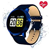 Smartwatch Bluetooth Wasserdicht, OUKITEL W1 Intelligente Armbanduhr Fitness Tracker Armbänder Herzfrequenz / Blutdruck / Schlaf Monitor / Spiel und Trinkwasser-Erinnerung Touchscreen Lange Standby-Zeit Kompatibel mit iOS und Android Handy(Blau1)