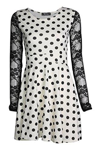 Fast Fashion - Polka Dot Imprimé Manches En Dentelle Boutonneux Robe De Patineuse - Femmes Crème/Noir