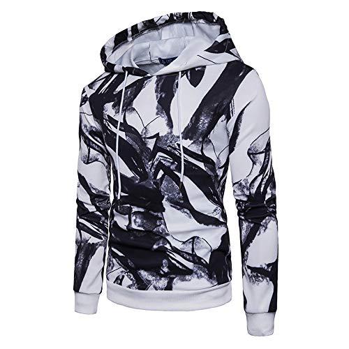 Hmeng Männer Muster drucken athletische Pullover Mode Hoodies Sweatshirts (Weiß, M)