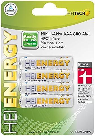 Heitech NiMH-Akku vorgeladen HR03/Micro/AAA, 800 mAh, 1,2 V, Wiederaufladbar, 04002190