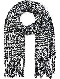 styleBREAKER Châle pour femme avec motif à carreaux et longues franges,  écharpe d hiver b1646dfbe0b