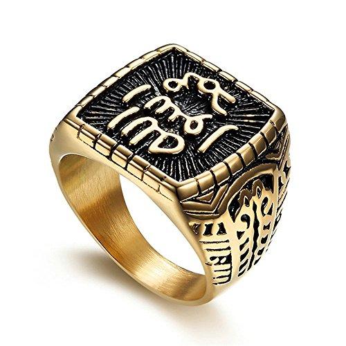 Wibbosad Gold Schwarz Islamischer Islam Ring mit Muster 316L Edelstahl Ring Herren Ringe,Röße:67(21.3)