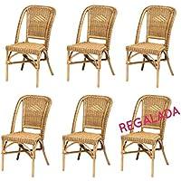 Lote de 6 sillas Selva de ratán