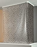 ECO- DUR 4024879003661 Kassetten ECK Duschrollo 137 x 62 cm silber - Flower grau
