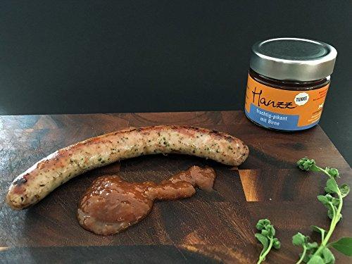 Hanzz Wurst klassisch Bratwurst – Grillwurst + Birnen Dip: 8 x Gourmet Wurst plus 2 x Tunke pikant-fruchtig