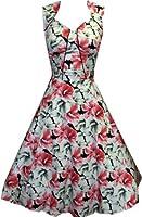 Pretty Kitty Fashion 50s weiß rosa floralen Kleid