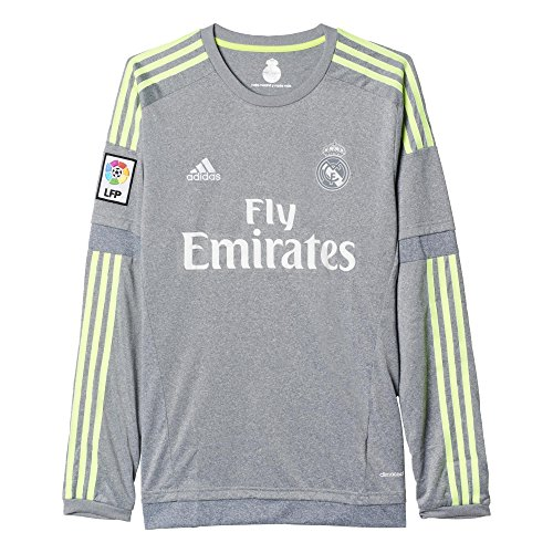 adidas Herren Langarm Auswärtstrikot Real Madrid Replica Grey/Solar Yellow, 2XL -
