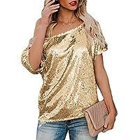 Women Short Sleeve Sexy Sequin Short Sleeve Top Blouse Golden L