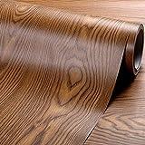 Vinilo autoadhesivo de madera de nogal oscuro rústico para armarios de cocina, encimera, mesa, escritorio, decoración de muebles, 61 cm x 4,9 m