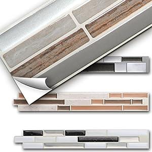 Grandora 5er Set 27 x 5 cm Fliesenaufkleber Kupfer marmor Silber Taupe Design 1 I 3D Mosaik Küche Bad Fliesendekor Wandaufkleber Fliesensticker W5529