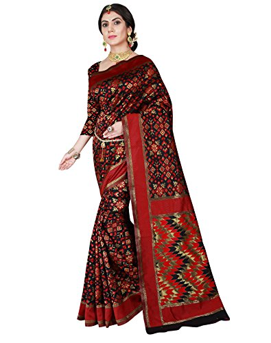 Viva N Diva Women's Patola Silk Black & Red Saree