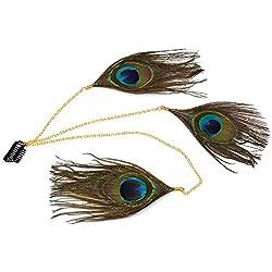runheng hecho a mano diadema de plumas de pavo real, Indian Hippie Feathe cabeza cadena